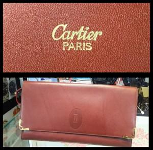 カルティエ,Cartier,クラッチバッグ,ボルドー,ロゴ,正規品,本物,ブランド楽市