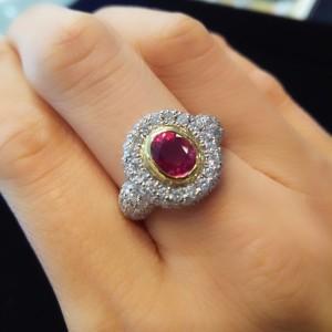 指輪,リング,コンビ,ダイヤモンド,ルビー,貴金属,pt900,K18