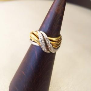 指輪,リング,コンビ,ダイヤモンド,貴金属,pt900,K18